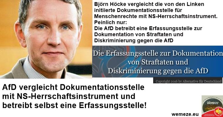 AfD vergleicht Dokumentationsstelle mit NS-Herrschaftsinstrument und betreibt selbst eine Erfassungsstelle!