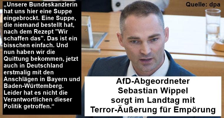 AfD-Abgeordneter  Sebastian Wippel  sorgt im Landtag mit  Terror-Äußerung für Empörung