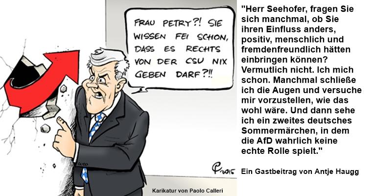 Nicht Frau Merkel, Horst Seehofer ist mitverantwortlich für das Erstarken der AfD und das Debakel der CDU