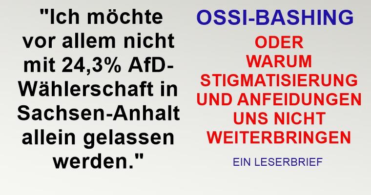 Ossi-Bashing, oder warum uns Stigmatisierung nicht weiterbringt